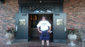 Mike in kilt and shirt